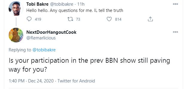 BBNaija is No Longer Opening Doors For Me - Tobi Bakre