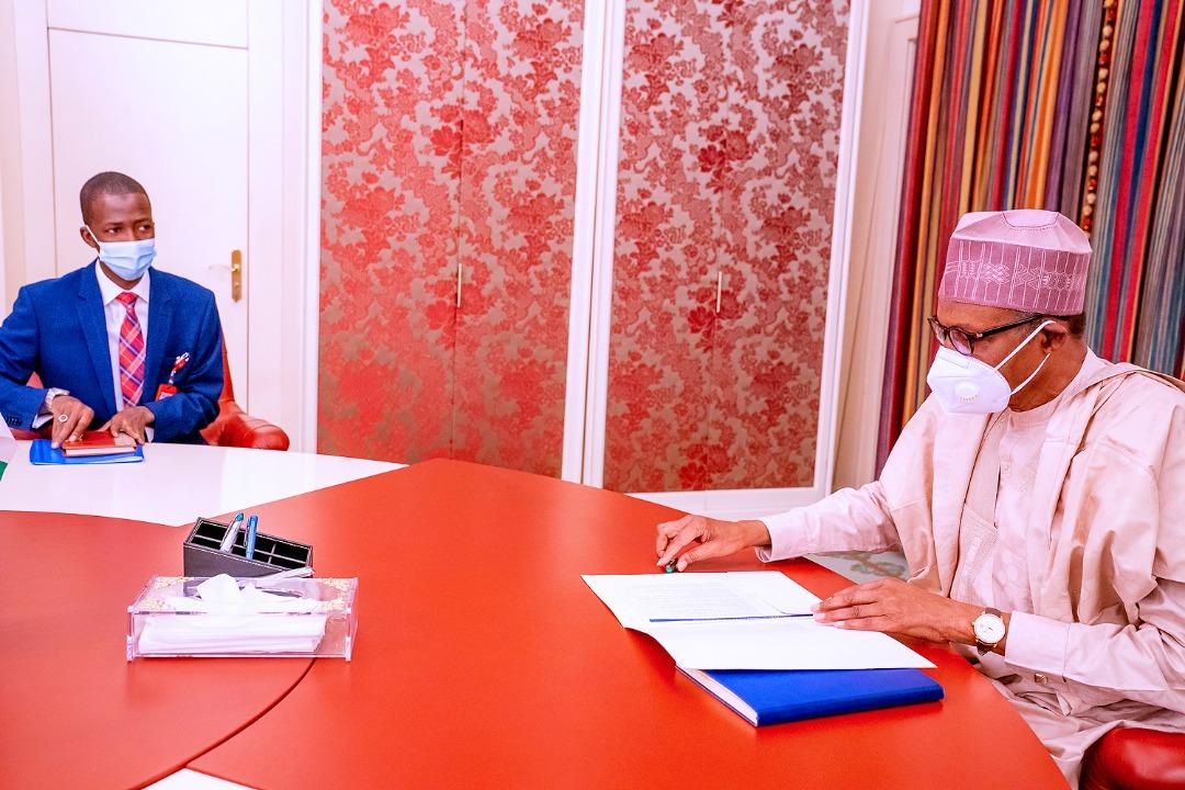 PHOTOS: Buhari receives new EFCC Chairman, Abdulrasheed Bawa at the State House